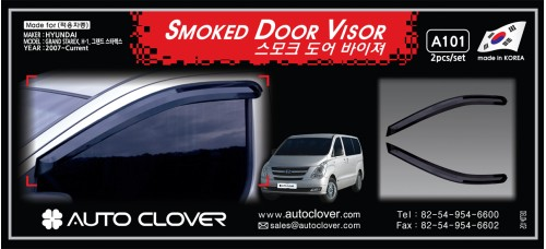 AUTOCLOVER SMOKED DOOR VISOR SET FOR GRAND STAREX / ILOAD 2009-15 MNR
