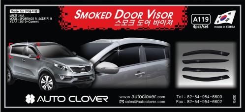 AUTOCLOVER SMOKED DOOR VISOR SET FOR KIA SPORTAGE R 2010-15 MNR