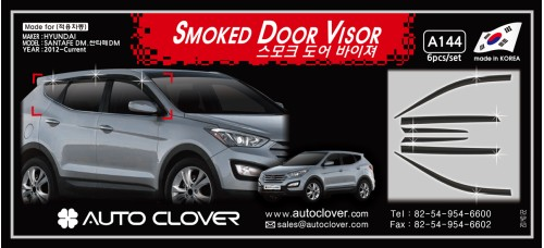 AUTOCLOVER SMOKED DOOR VISOR SET FOR HYUNDAI SANTA FE 2012-15 MNR