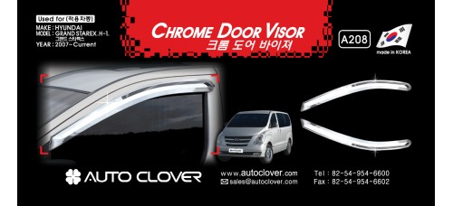 AUTOCLOVER CHROME DOOR VISOR SET FOR GRAND STAREX / iLOAD 2009-15 MNR