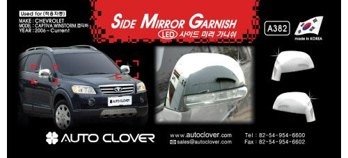 AUTOCLOVER SIDE MIRROR GARNISH SET FOR CHEVROLET CAPTIVA 2011-15 MNR