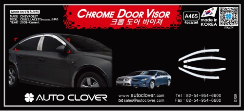 AUTOCLOVER  CHROME DOOR VISOR SET FOR CHEVROLET CRUZE 2011-15 MNR