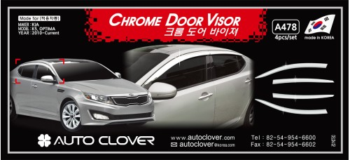 AUTOCLOVER CHROME DOOR VISOR SET FOR KIA K5 OPTIMA 2010-15 MNR