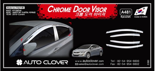 AUTOCLOVER CHROME DOOR VISOR SET FOR HYUNDAI AVANTE MD /  ELANTRA 2010-15 MNR
