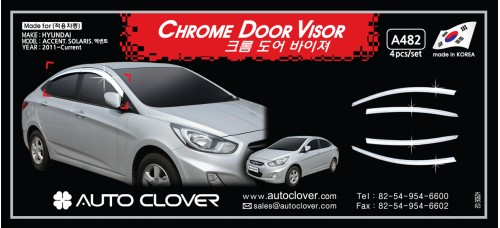 AUTOCLOVER CHROME DOOR VISOR SET FOR HYUNDAI ACCENT 2011-15 MNR