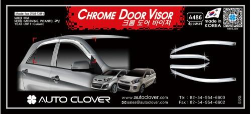 AUTOCLOVER CHROME DOOR VISOR SET FOR KIA PICANTO 2011-15 MNR