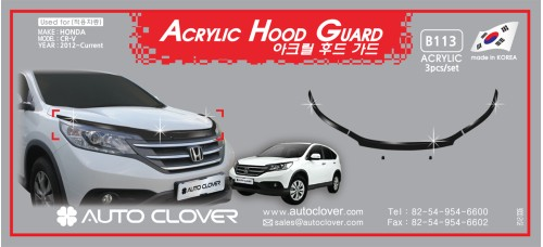 AUTOCLOVER ACRYLIC HOOD GUARD SET FOR HONDA CRV 2012-15 MNR