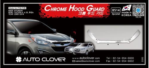 AUTOCLOVER CHROME HOOD GUARD SET FOR TUCSON IX35 2009-15 MNR