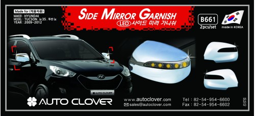 AUTOCLOVER SIDE MIRROR GARNISH (w.LED) SET FOR HYUNDAI TUCSON IX35 2009-15 MNR