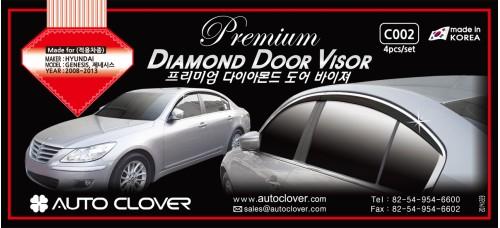 AUTOCLOVER PREMIUM DIAMOND DOOR VISOR SET FOR HYUNDAI GENESIS 2008-13 MNR
