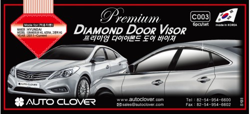 AUTOCLOVER PREMUIM DIAMOND DOOR VISOR SET FOR HYUNDAI GRANDEUR HG 2011-15 MNR