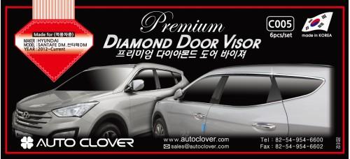 AUTOCLOVER DIAMOND DOOR VISOR SET FOR HYUNDAI SANTA FE 2012-15 MNR