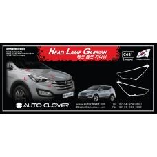 AUTOCLOVER HEAD LAMP GARNISH SET FOR HYUNDAI SANTA FE 2012-15 MNR
