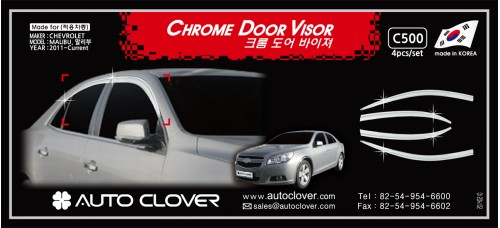 AUTOCLOVER CHROME DOOR VISOR SET FOR CHEVROLET MALIBU 2011-15 MNR