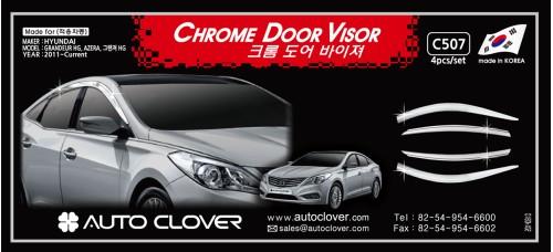 AUTOCLOVER CHROME DOOR VISOR SET FOR HYUNDAI GRANDEUR HG 2011-15 MNR