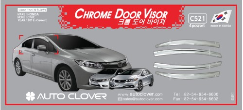 AUTOCLOVER CHROME DOOR VISOR  SET FOR HONDA CIVIC 2012 MNR