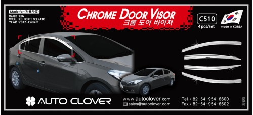 AUTOCLOVER CHROME DOOR VISOR SET FOR KIA K3 CERATO 2012-15 MNR