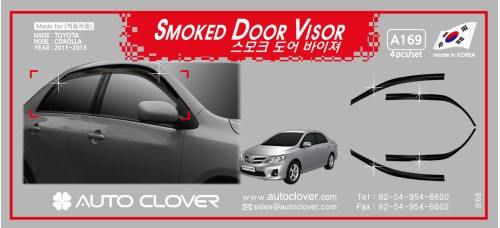 AUTOCLOVER SMOKED DOOR VISOR  SET FOR TOYOTA COROLLA 2011-13 MNR