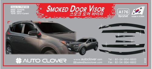 AUTOCLOVER SMOKED DOOR VISOR  SET FOR TOYOTA RAV4 2013-15 MNR