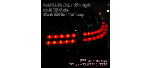 AUTO LAMP - AUDI Q7-STYLE LED TAILLIGHTS SET (BLACK EDITION) FOR HYUNDAI SANTA FE CM 2006-12 MNR