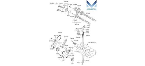 MOBIS TIMING CHAIN KIT FOR DIESEL ENGINE D4HB KIA / HYUNDAI 2009-17 MNR