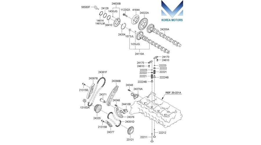 MOBIS TIMING CHAIN KIT FOR ENGINE D4HB FOR KIA / HYUNDAI 2009-17 MNR- on bmw z3 engine timing diagram, kia sorento engine schematic, kia sorento timing chain diagram,