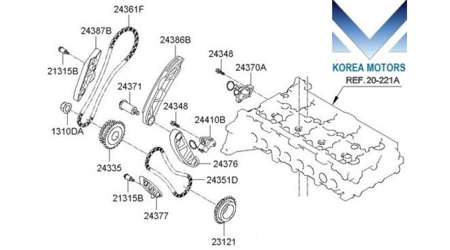 mobis timing chain kit for engine d4hb for kia    hyundai