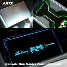 ARTX HYUNDAI SANTA FE DM - LED CUP HOLDER & CONSOLE INTERIOR LUXURY PLATES SET
